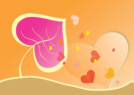 Abstract background from leaves in the form of heart Stock Vector - 6240900