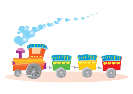 Vector illustration of toy train with hearts