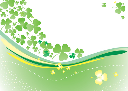 Vector background with clover leafs and shapes Stock Vector - 6265617
