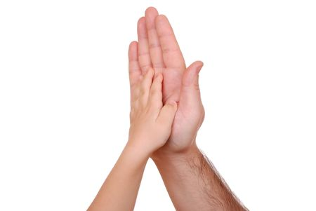 Hand shake of the child and father isolated Stock Photo - 6324549