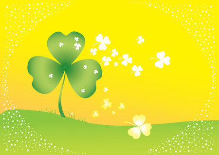 Vector background with clover leafs and shapes Stock Vector - 6324551