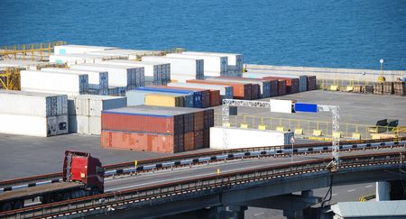 Port warehouse with containers and industrial cargoes Stock Photo - 6396044
