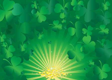 background with clover leafs, gold coins and shapes Vector