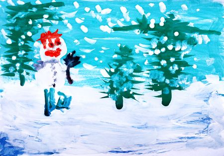 Drawing by hand a water colour. Winter forest with snowman and snowfall Stock Photo - 6417783