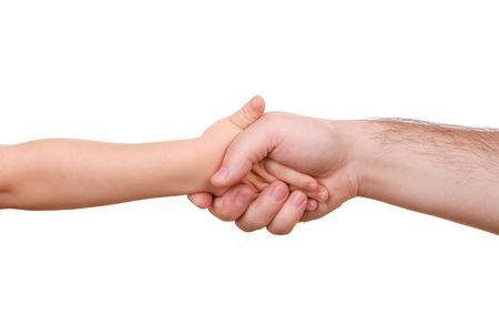 Hand shake of the child and father isolated photo