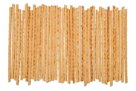 pretzel stick: Stack of salted breadsticks isolated on white