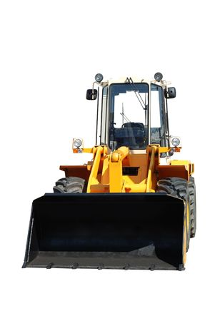 One new bulldozer isolated on white photo