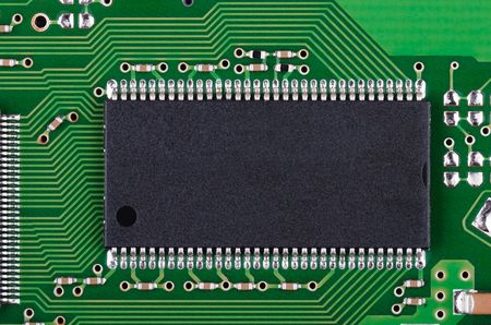 Background from microchip and pcb macro  Stock Photo