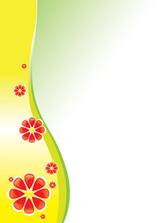 background with red flowers and shapes Stock Vector - 6601703