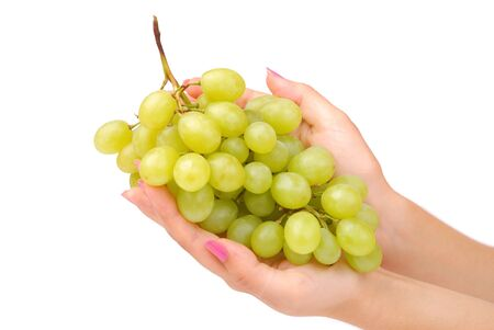 The female hand holds one grapes on white photo