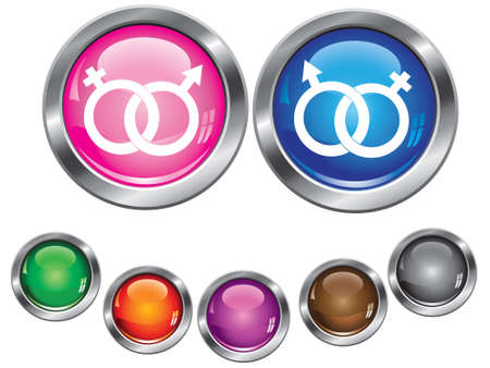 Vector collection icons with gender sign, empty button included Vector