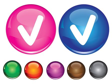 Vector collection icons with check sign, empty button included Иллюстрация