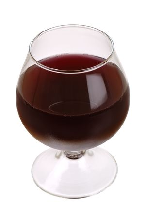 Red wine glass over a white background photo