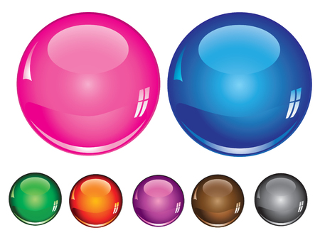 collection of glossy buttons in various colors Stock Vector - 6699773