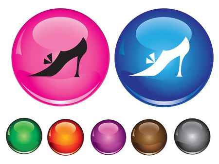 icons with sign of woman shoe, empty button included Иллюстрация