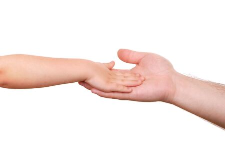 Hand shake of the child and father isolated Stock Photo - 6721279