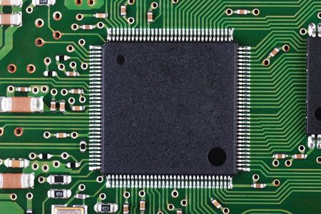 Background from microchip and pcb macro  photo