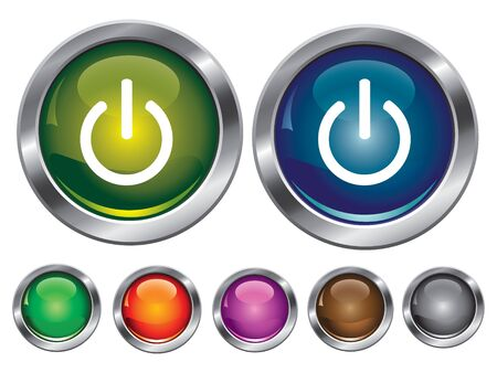 collection icons with power off sign, empty button included