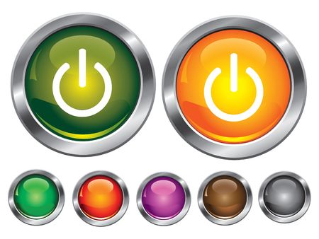 collection icons with power off sign, empty button included Stock Vector - 6753949