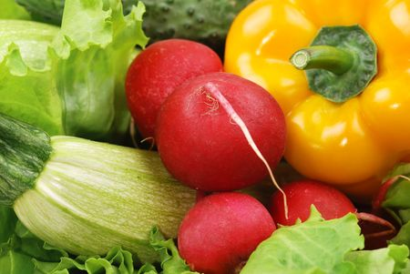 Composition from vegetables and greens photo