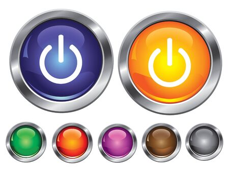 collection icons with power off sign, empty button included Stock Vector - 6823444