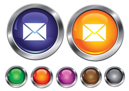 collection icons with mail sign, empty button included Stock Vector - 6823462