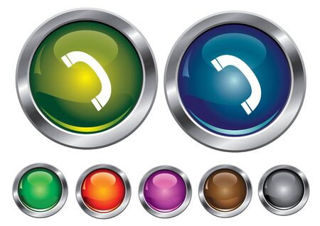 collection icons with phone sign, empty button included Vector