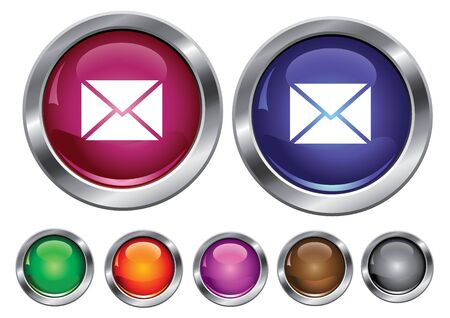 collection icons with mail sign, empty button included Stock Vector - 6823625