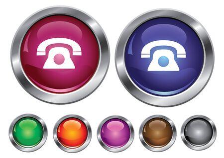 collectie iconen met telefoon teken, lege knop inbegrepen  Vector Illustratie