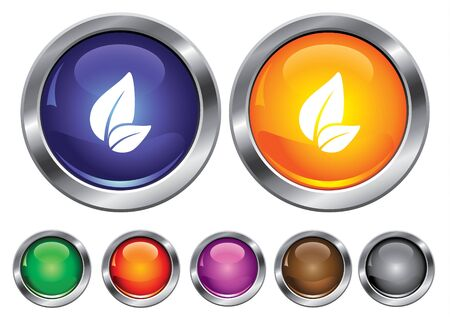 collection icons with leaf sign, empty button included Иллюстрация