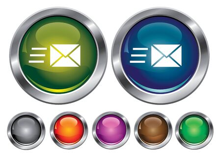 collection icons with speed mail sign, empty button included Stock Vector - 6823869