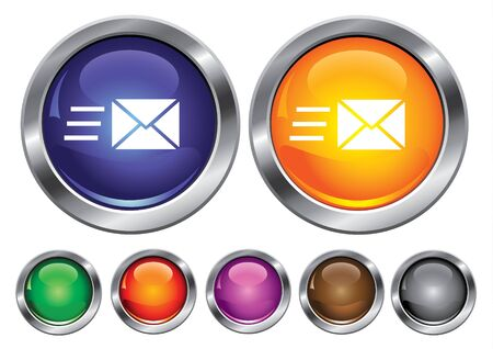 collection icons with speed mail sign, empty button included Stock Vector - 6823893