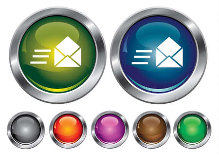 collection icons with speed mail sign, empty button included Stock Vector - 6823891