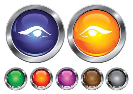 maquillage: collection icons with eye sign, empty button included