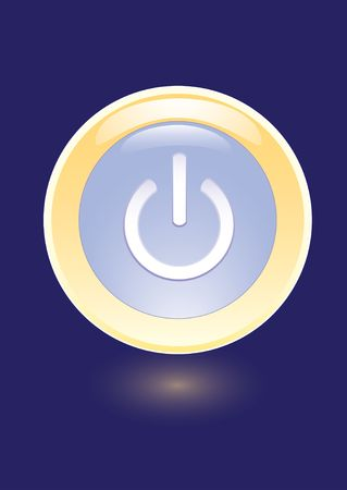 shut up: icon with power on sign on blue background Illustration