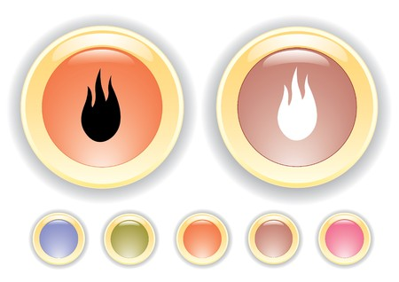 combust: Vector collection icons with burning flame icon