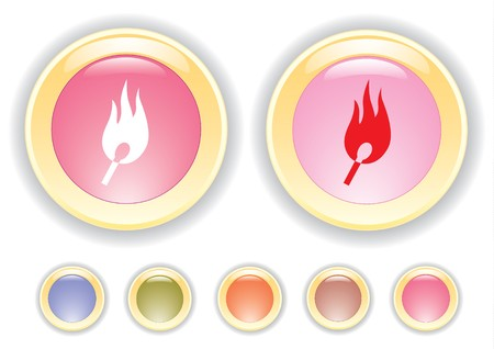 collection buttons with burning safety match icon Stock Vector - 6921736