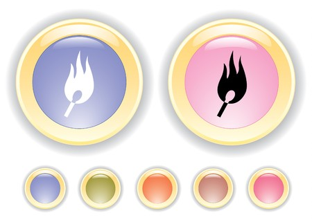 Vector collection buttons with burning safety match icon