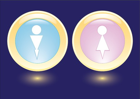 layman:  collection icons with man and woman silhouette Stock Photo