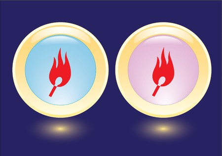 collection buttons with burning safety match icon photo