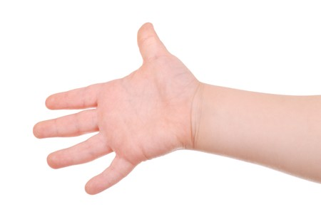 open palm: Childrens hand isolated on white background Stock Photo
