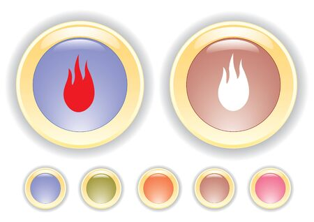 combust: collection icons with burning flame icon Stock Photo