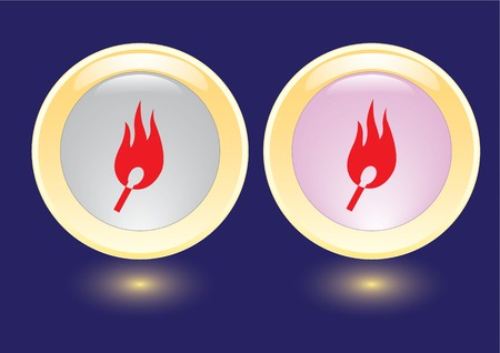 collection buttons with burning safety match icon Stock Vector - 6998150