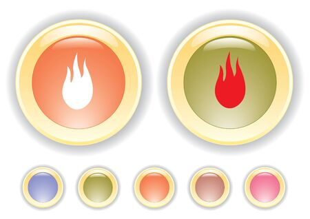 collection icons with burning flame icon Ilustração
