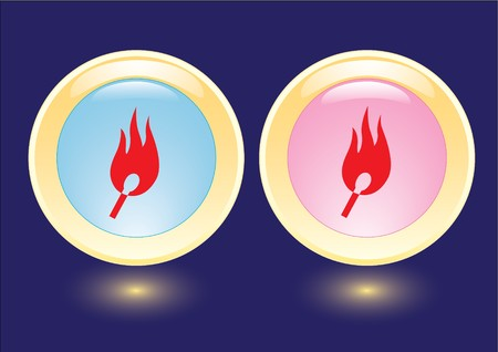 collection buttons with burning safety match icon Vector