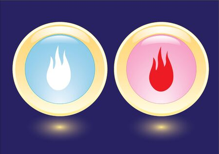 combust: collection icons with burning flame icon Illustration