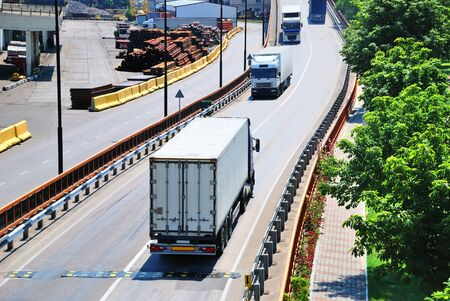 Transportation of containers by lorry  photo