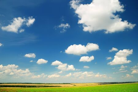 Summer landscape with the beautiful sky and fields photo