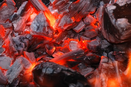 smoldering: Dark background from the burning charcoal