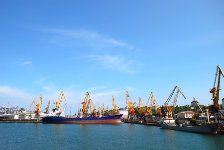 Port warehouse with containers and industrial cargoes Stock Photo - 7617011